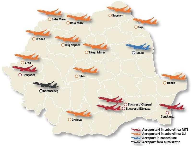 Karte der Flughäfen Rumänien