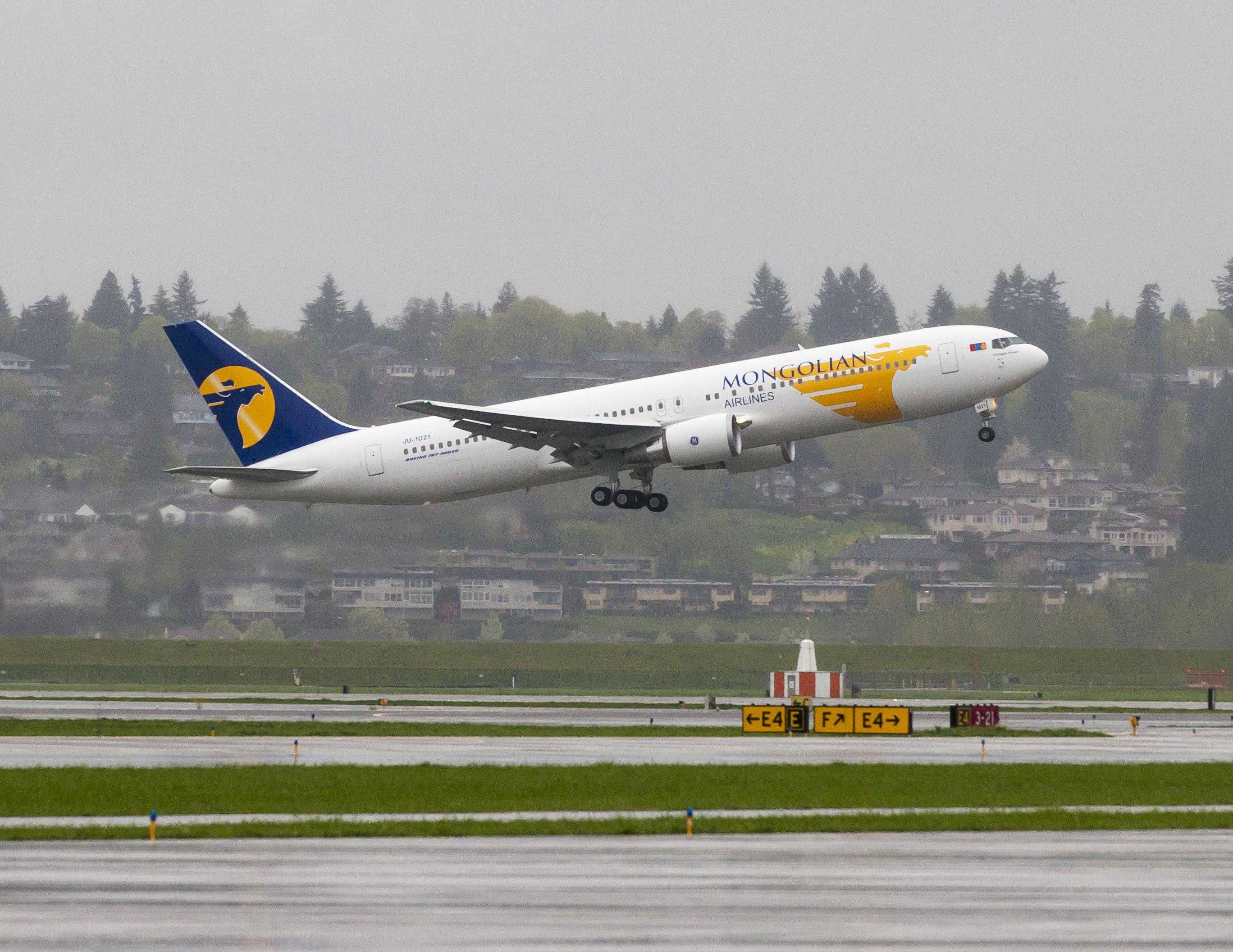 Mongolian Airlines 767-300 Takeoff in Portland OR PDX
