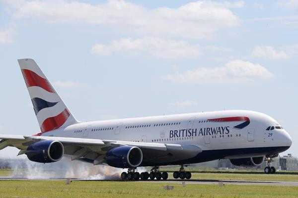 A British Airways Airbus A380 lands at Le Bourget airport, one day before the start of the 50th Paris Air Show