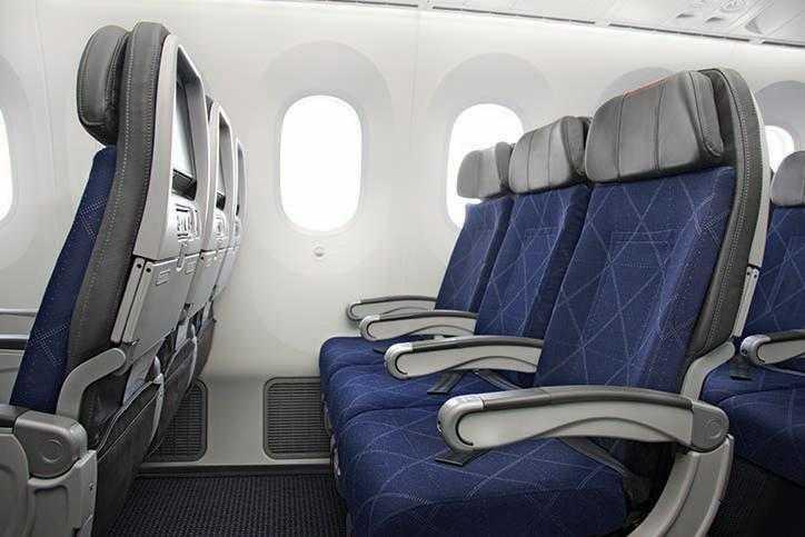 Boeing 787 Dreamliner American la interior