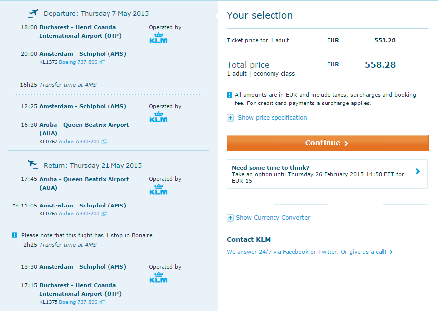 Bucuresti_Aruba_KLM_559_EURO