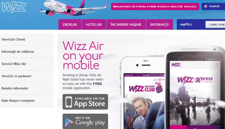 m.wizzair.com – versiunea pentru mobil a site-ului Wizzair.com