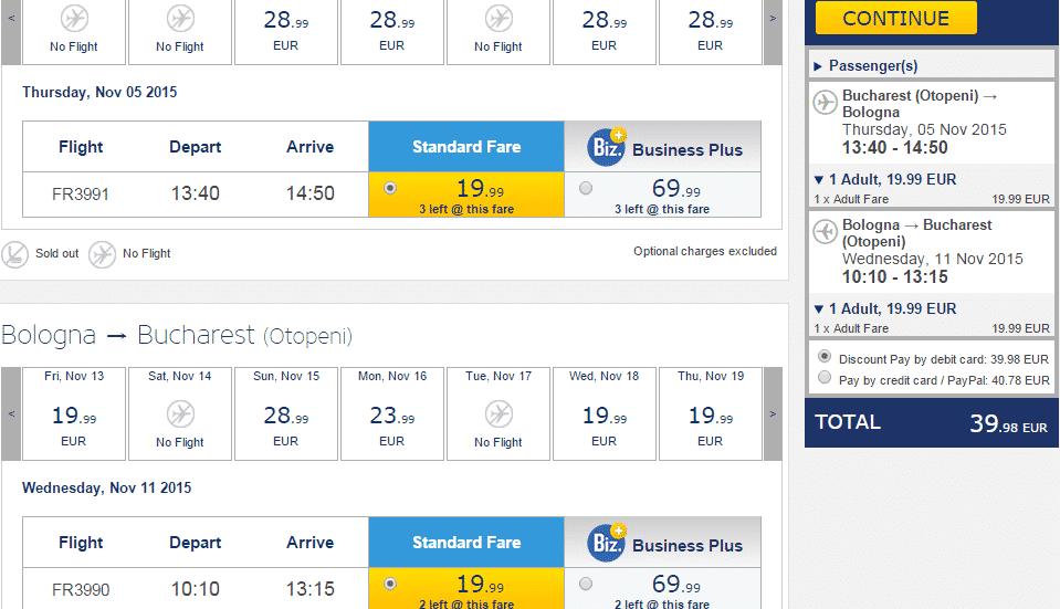 Bucharest-Bologna Ryanair-19.9EURO