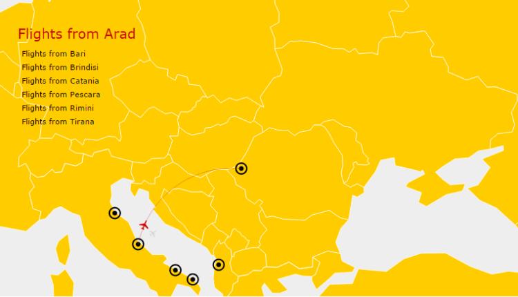 Pescara – Arad cu Air Vallée, de la 1 decembrie 2015
