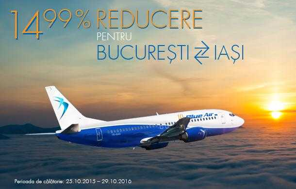 [Oferta Blue Air] Tarife de la 286 lei pentru zborurile Bucureşti – Iaşi – Bucureşti