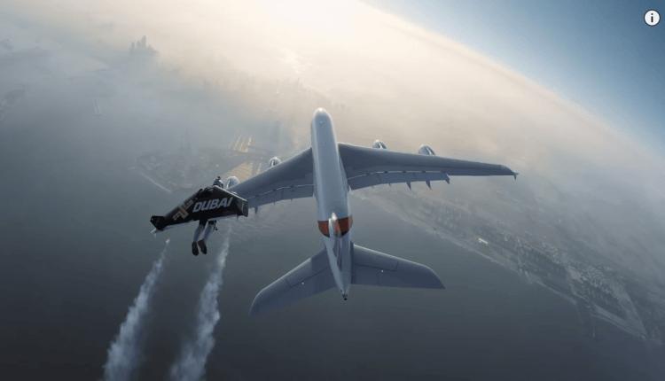 (Video) În zbor, Jetman alături de Airbus A380 Emirates – #HelloJetman