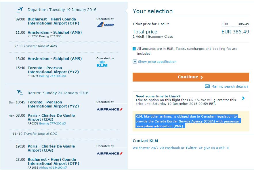 Bucuresti-Toronto-Air-France-KLM