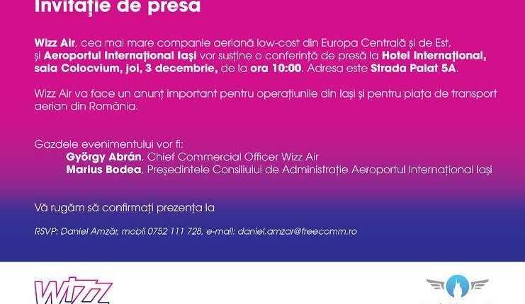 Conferinţă de presă Wizz Air la Iaşi, pe 3 decembrie / Baza şi rute noi