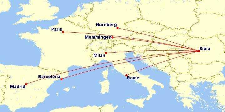 Aeroportul din SIBIU a scos 7 rute noi la licitaţie