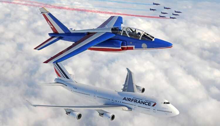 (Video) Patrouille de France şi Boeing 747 Air France la înălţime
