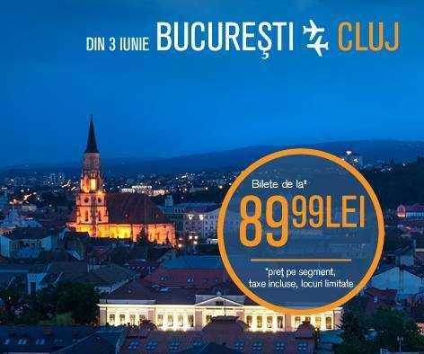 Bucuresti – Cluj cu Blue Air, din 3 iunie 2016