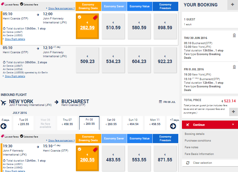 Bucuresti-New-York-Belgrad-Air-Serbia