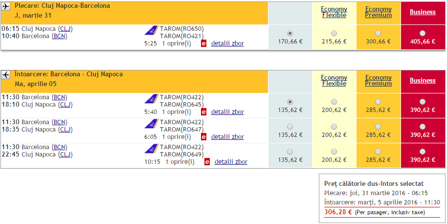Cluj-Barcelona-TAROM 306 EURO