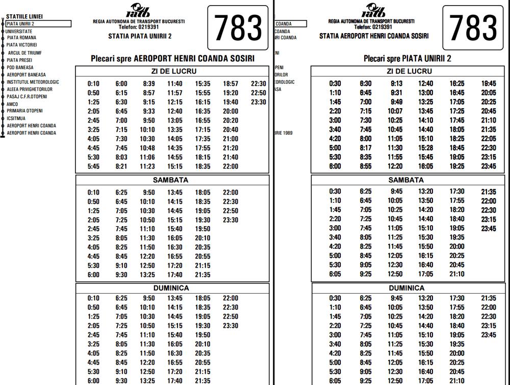 Orar-783-Aeroport-Unirii