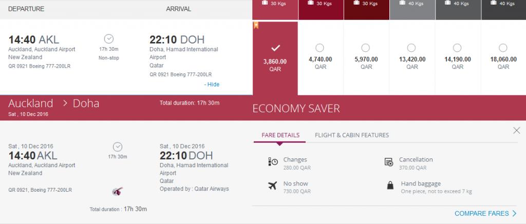 Auckland-Doha-Qatar-Airways