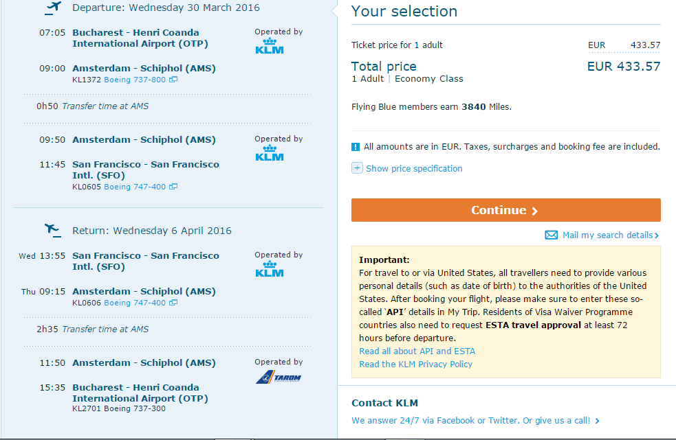 Bucuresti-San-Francisco-Bucuresti-KLM