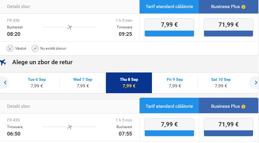 Bükreş-Timisoara-Bükreş Ryanair