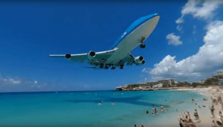 (Video 360) Aterizarea unei aeronave Boeing 747-400 KLM în Sint Maarten
