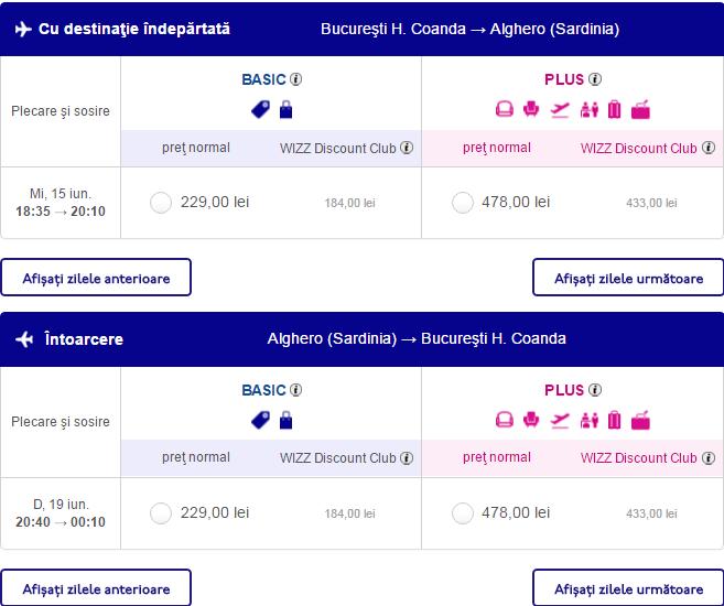 Bucuresti - Alghero cu Wizz Air