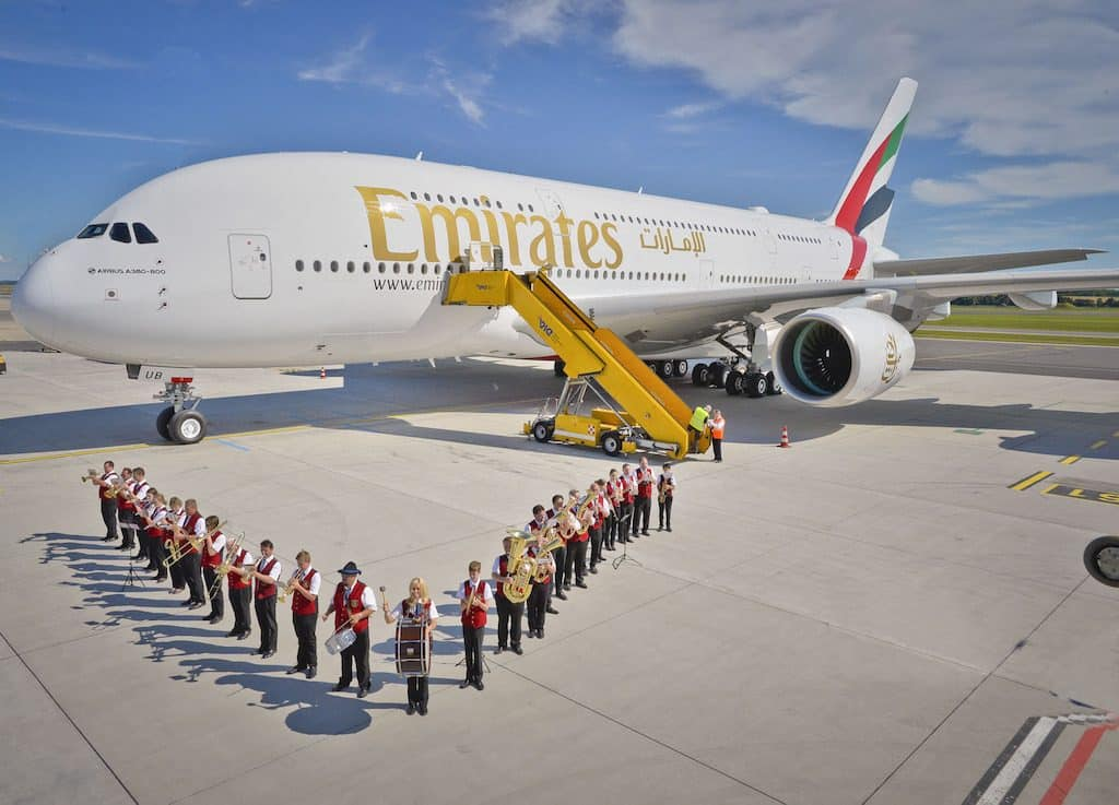 Emirates-A380-is-welcomed-to-Vienna