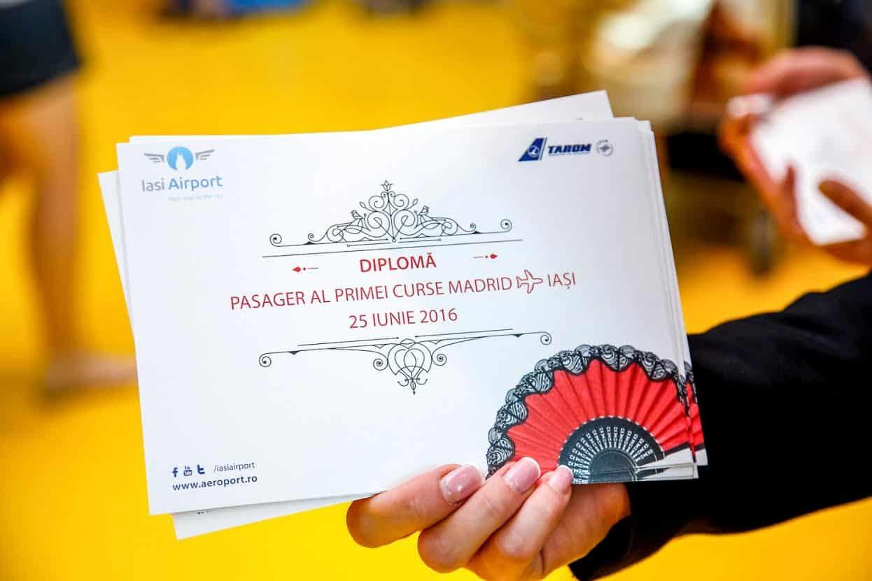 inaugurare-iasi-madrid-tarom-diploma