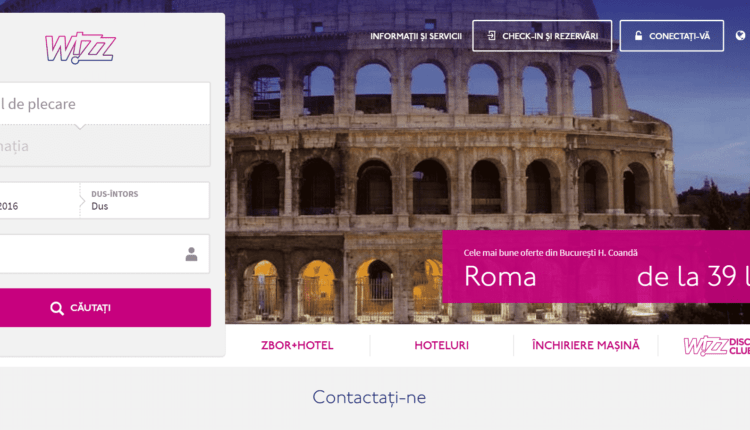 Site-ul Wizz Air în haine noi