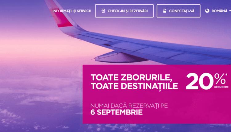 [Oferta Wizz Air] Doar astăzi, 6 septembrie 2016, 20% reducere la toate zborurile