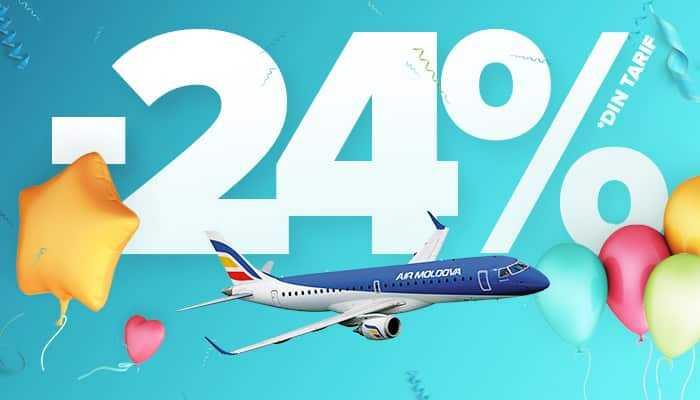 Air Moldova împlineşte 24 ani și oferă 24% discount la biletele de avion