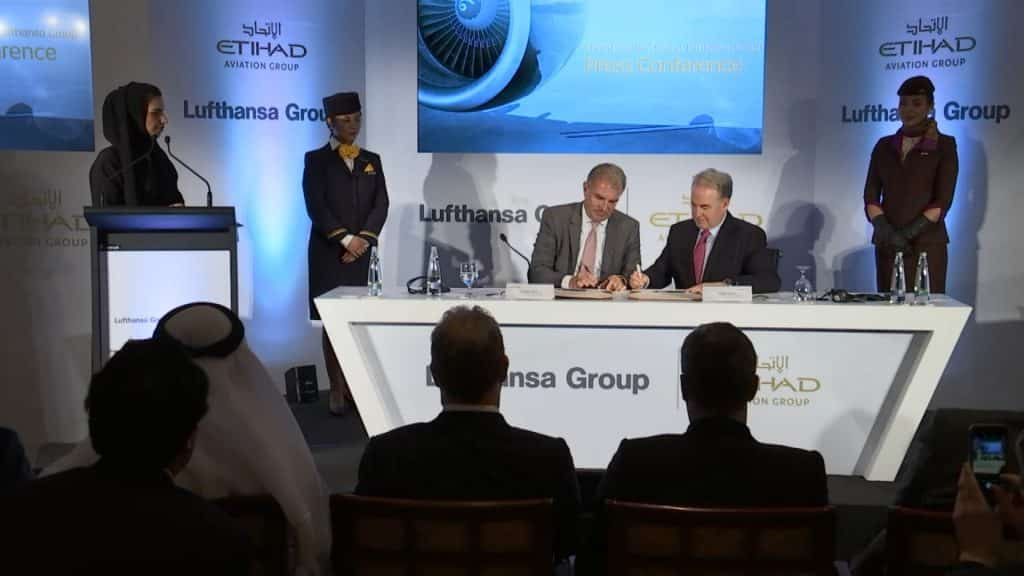 signing agreement, Etihad Airlines