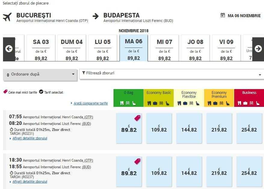 taux Bucarest-Budapest-Tarom