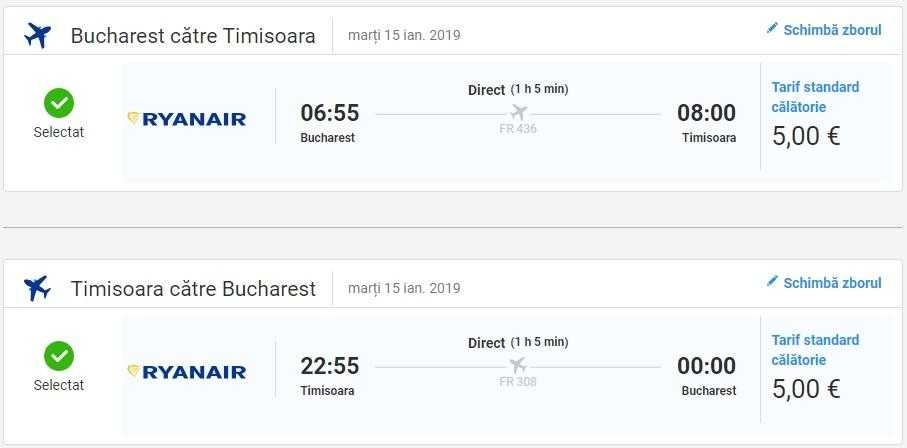 Bucharest-Timisoara-Bucharest-RYANAIR-5 EURO