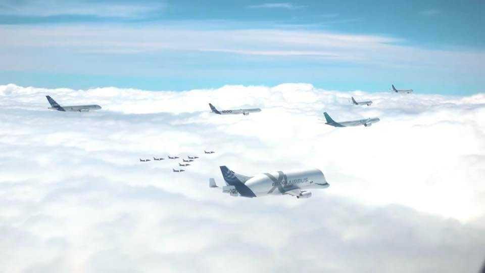 50 yaşındaki Airbus-uçak oluşumu