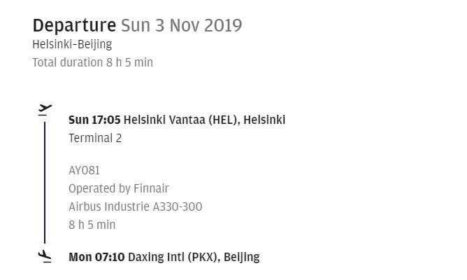 Programm Finnair Helsinki-Peking