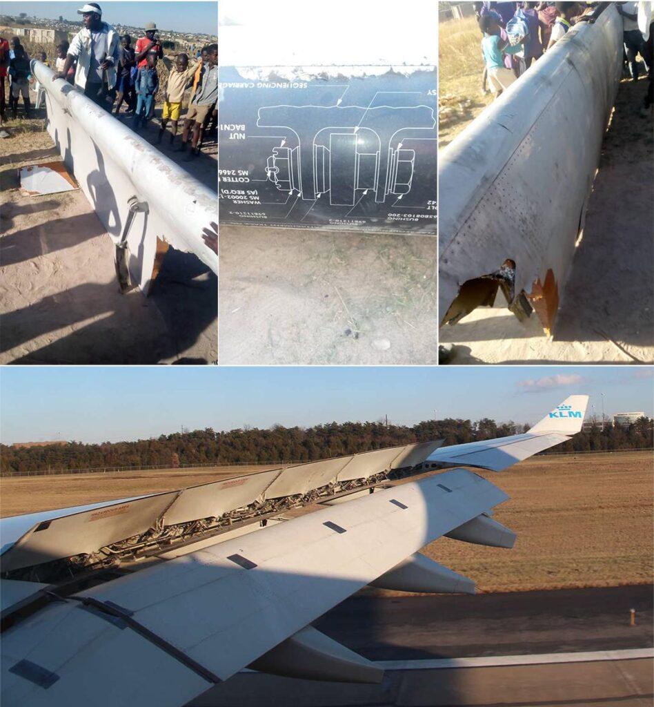 Boeing 747 pieza de ala-caído
