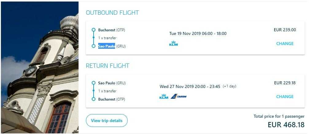 sao paulo-Bucharest-KLM offer