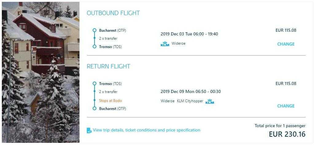 offer-KLM Bucharest-Tromso