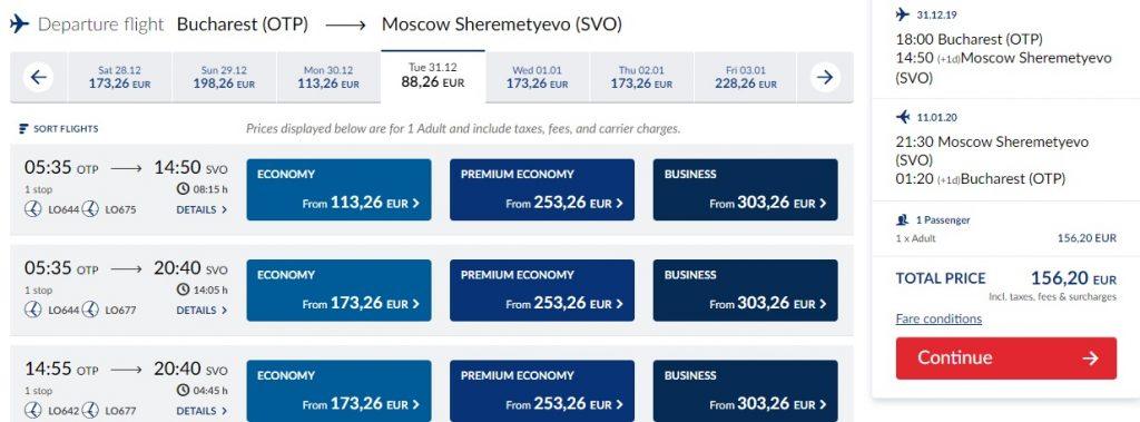 Bucharest-Moscow-156-euro