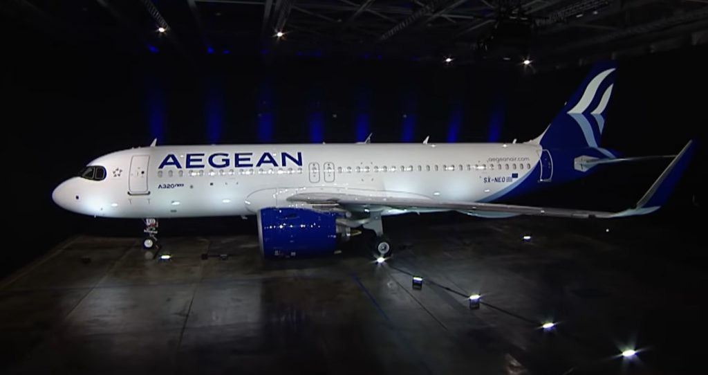the new airbus a320neo in the new aegean livery