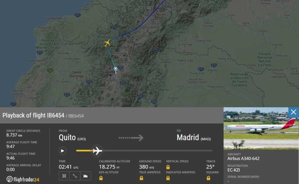 Der Airbus A340-600 Iberia startete leer in Richtung Madrid