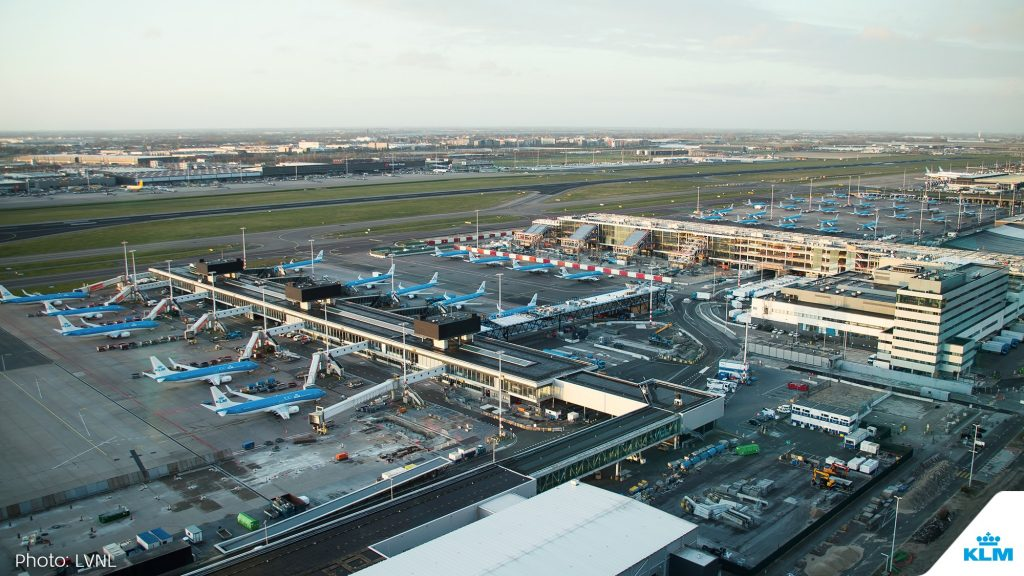 The KLM fleet is parked at Schiphol Airport