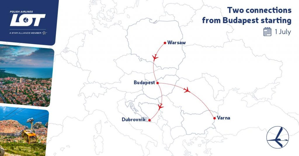 LOT Polish Airlines ha abierto 2 rutas desde Budapest