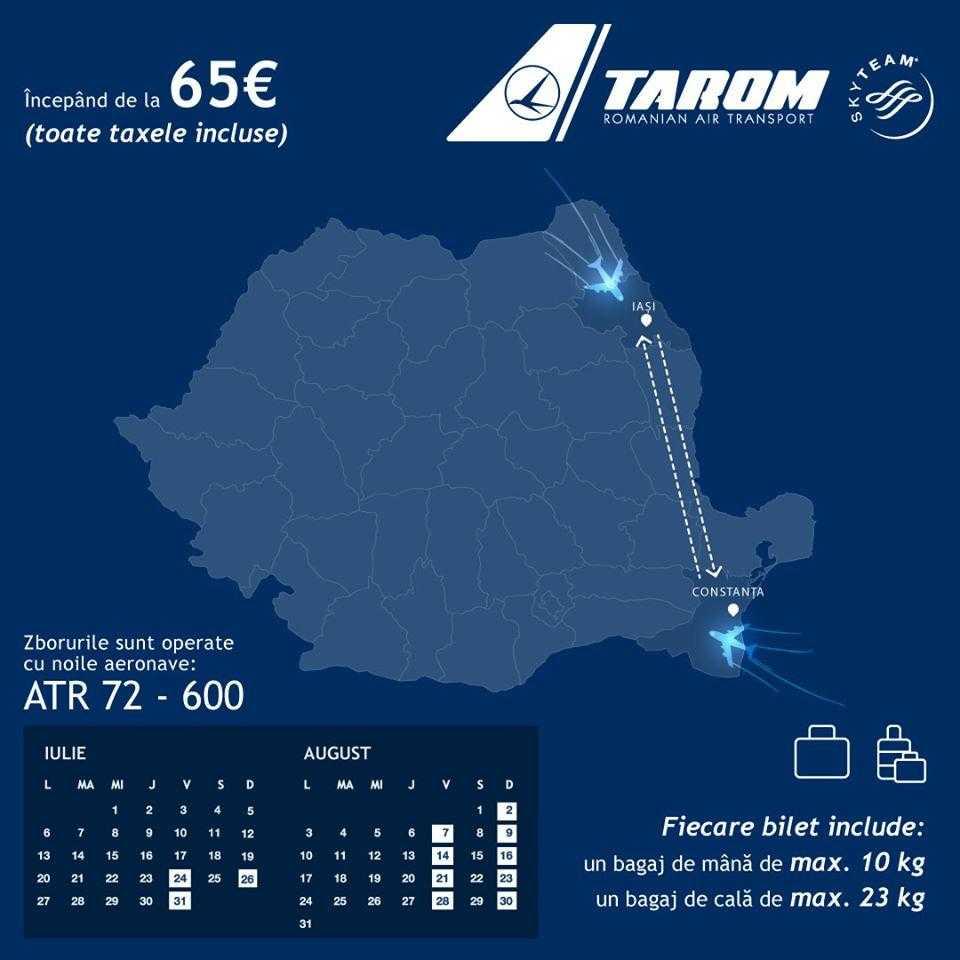 Iasi - Constanta cu TAROM, din 24 iulie 2020
