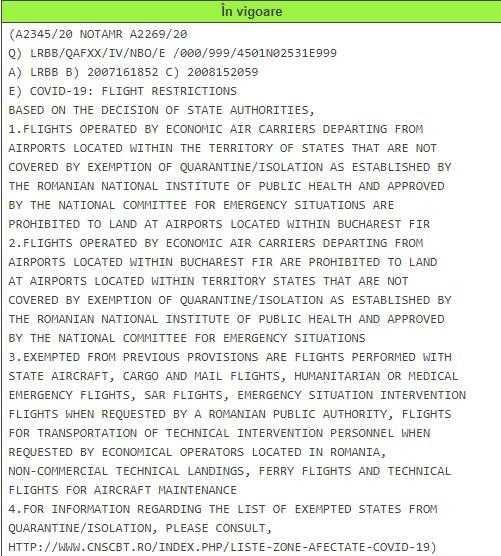 NOTAM приостановленные рейсы