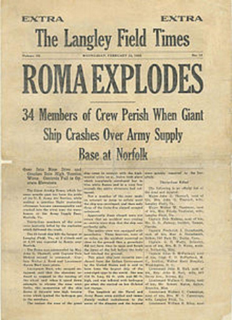 21 de febrero en-aeronave-dirigible-Roma-se estrella-matando-34-personas-2