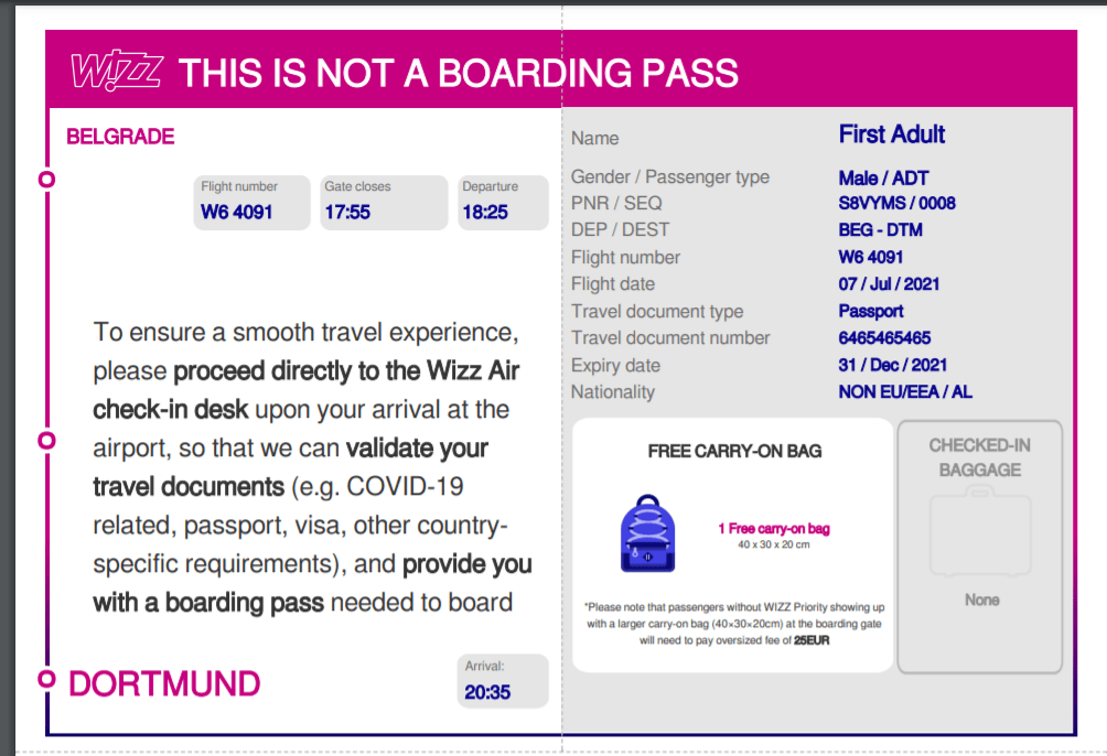 online check-in is not allowed to board